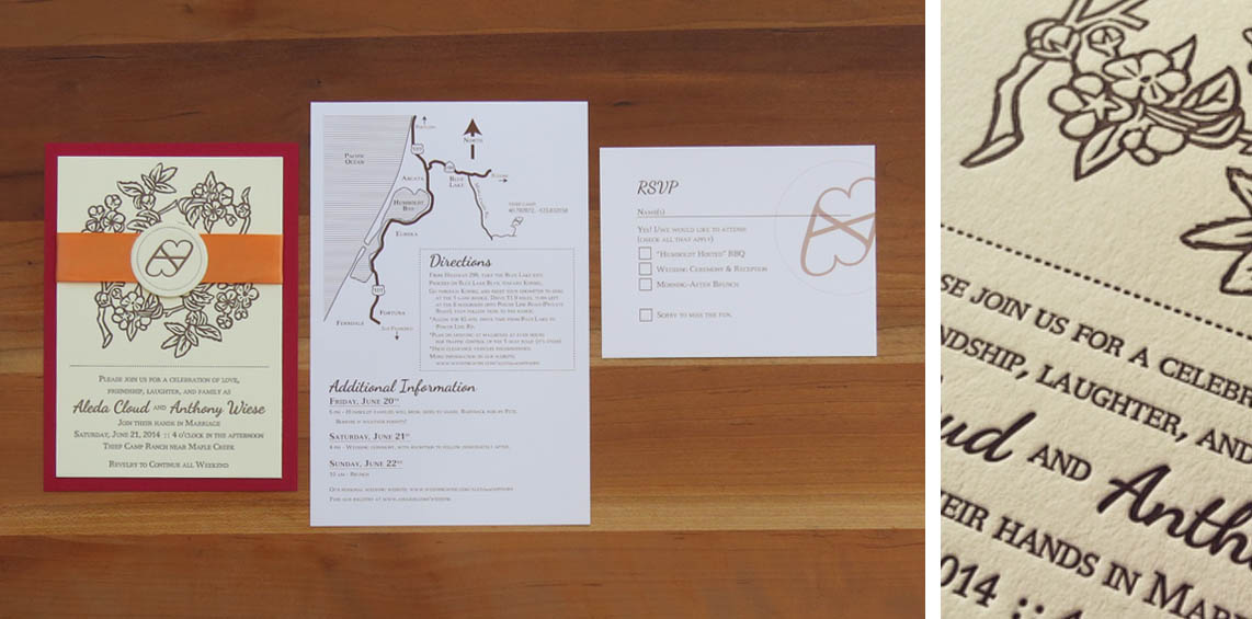 4-color invitation. Digitally printed map/directions card and RSVP postcard. 2014  This couple wanted a brand for themselves; they will be raising cattle together and will actually use it on their cows. They also have numerous apple trees on their ranch. The invitations included red backing paper, orange ribbon, a linoleum block-cut apple branch image and a die-cut brand medallion.