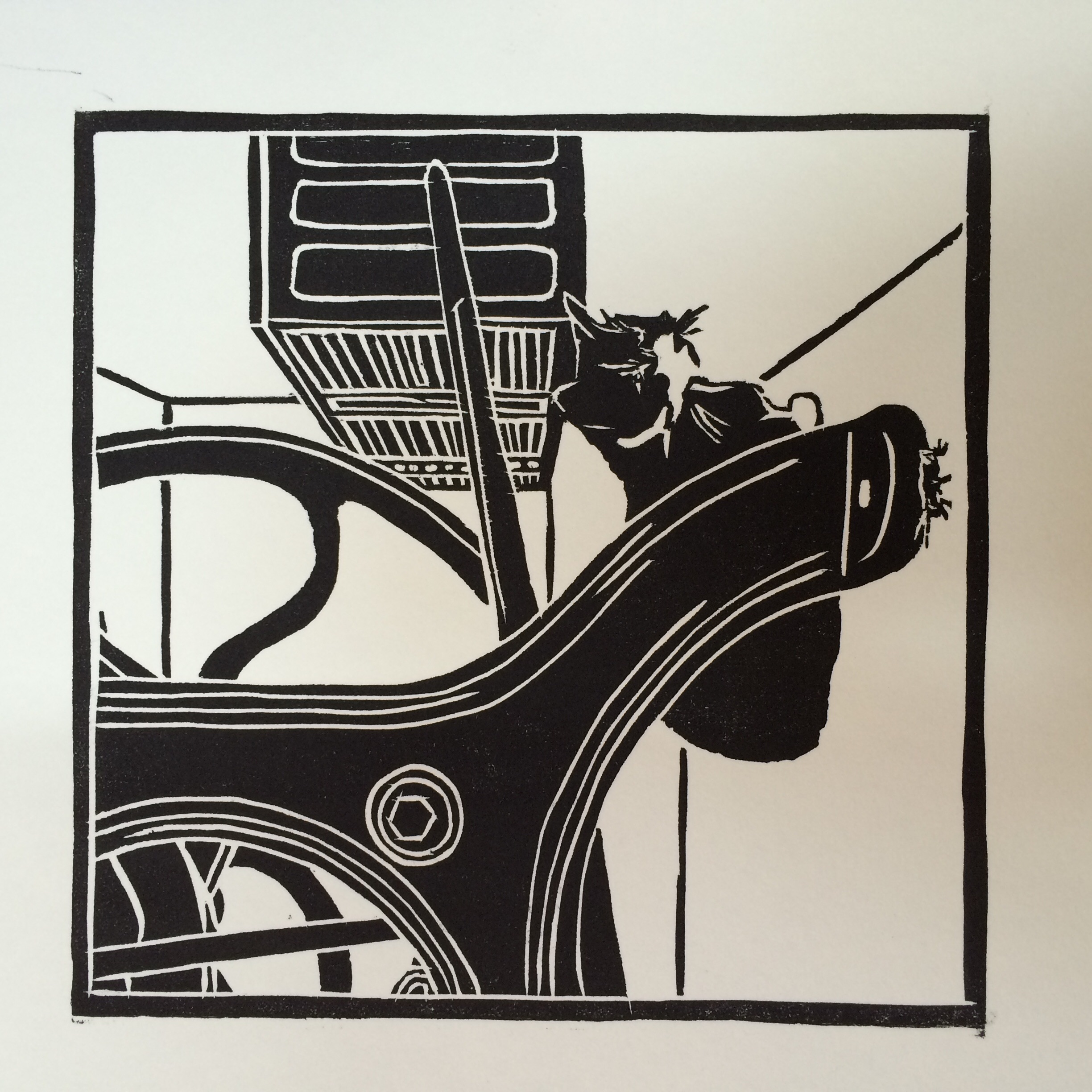 """Print Shop Huntress"" is available in my shop. My first woodcut ever!"