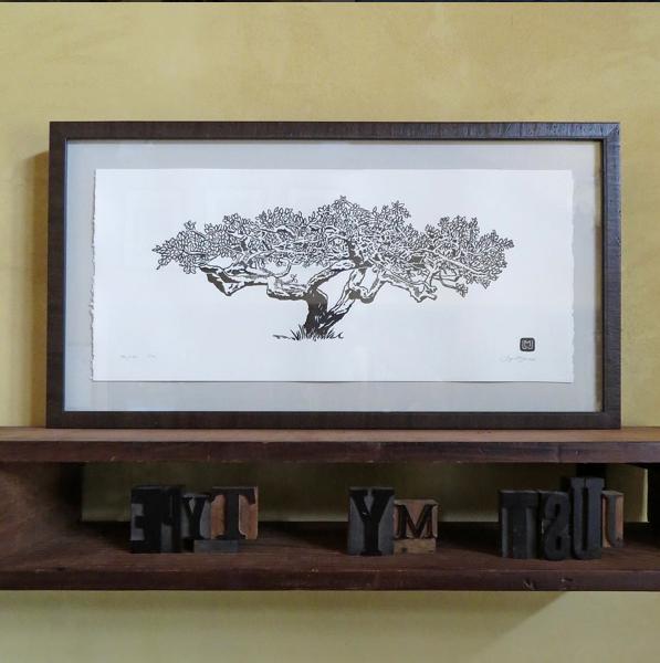Fern Cottage Plum Tree. ©2015 Just My Type Letterpress. Framed, $250. Unframed, $100.