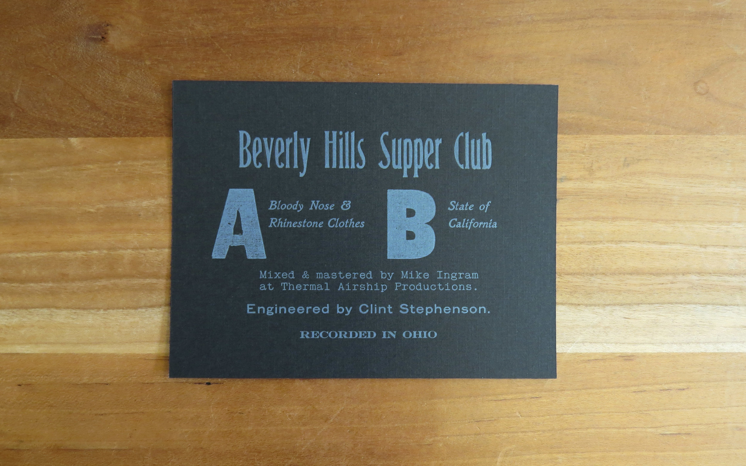 "Insert card for a 7"" record - 1 color, quarter sheet. Beverly Hills Super Club, band."