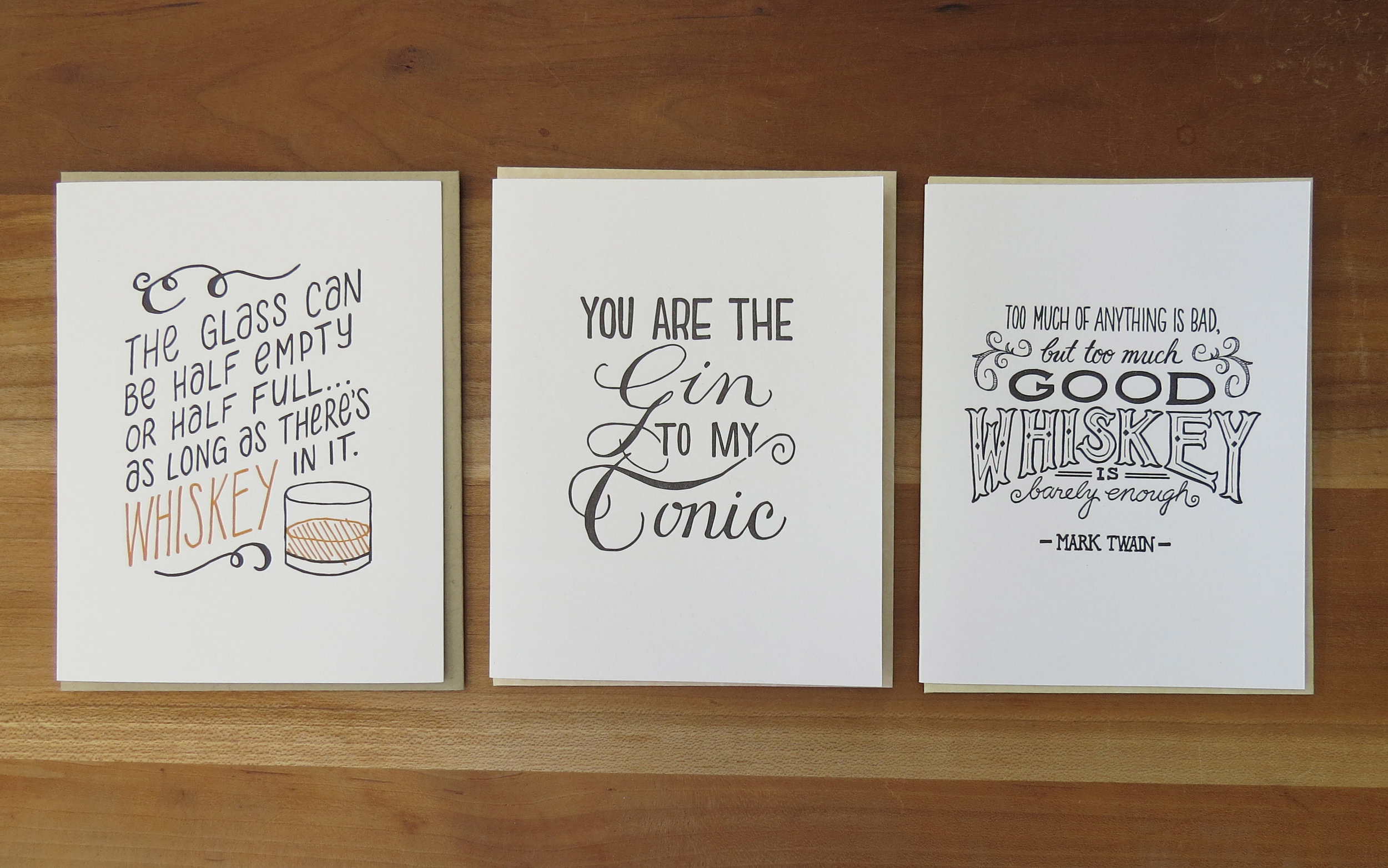 Alchemy Distillery - A2 cards with drink-related quotes. Hand lettered and printed by Lynn M. Jones.