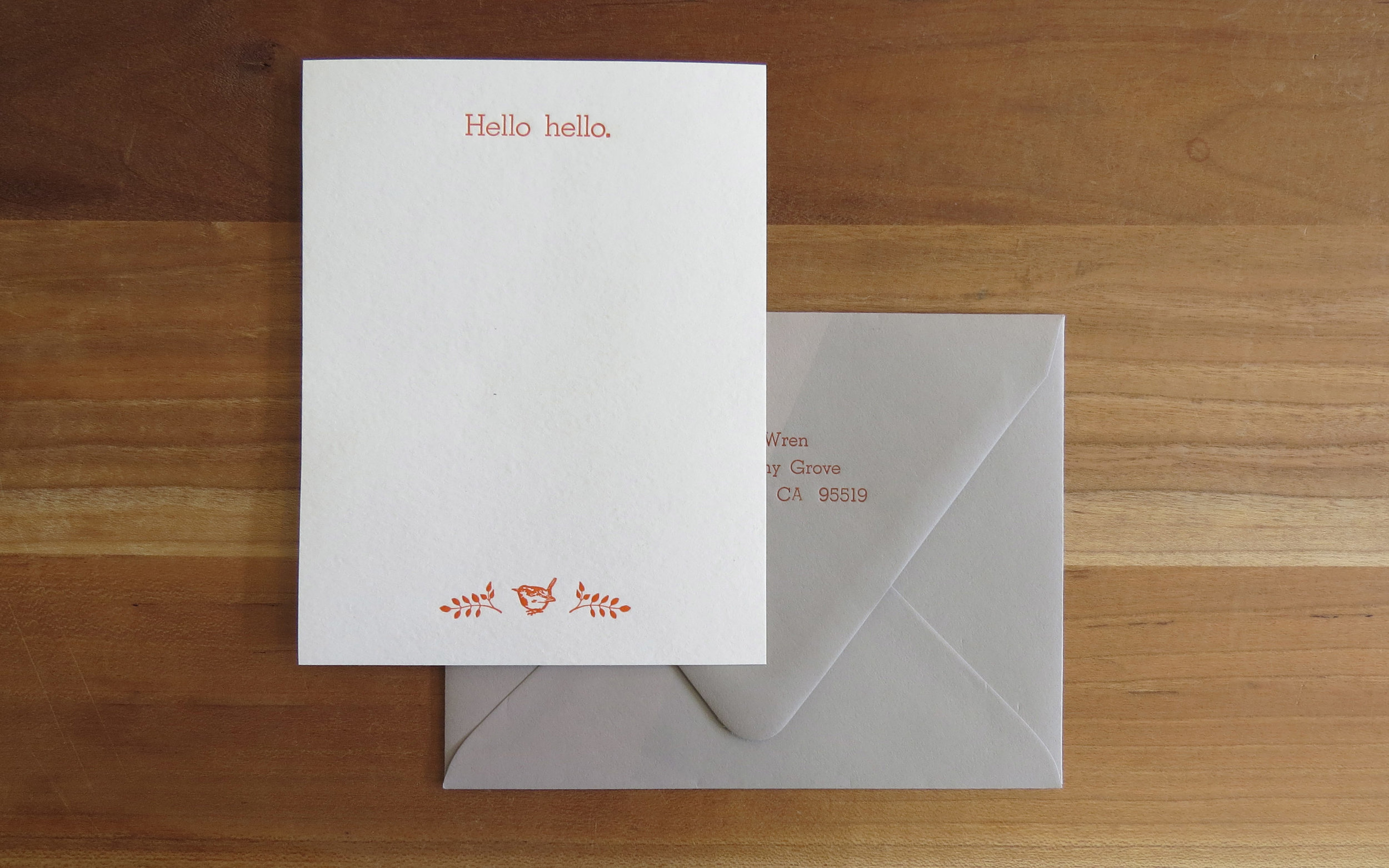 Personal stationery - 1 color, quarter sheet, with return-addressed envelopes.