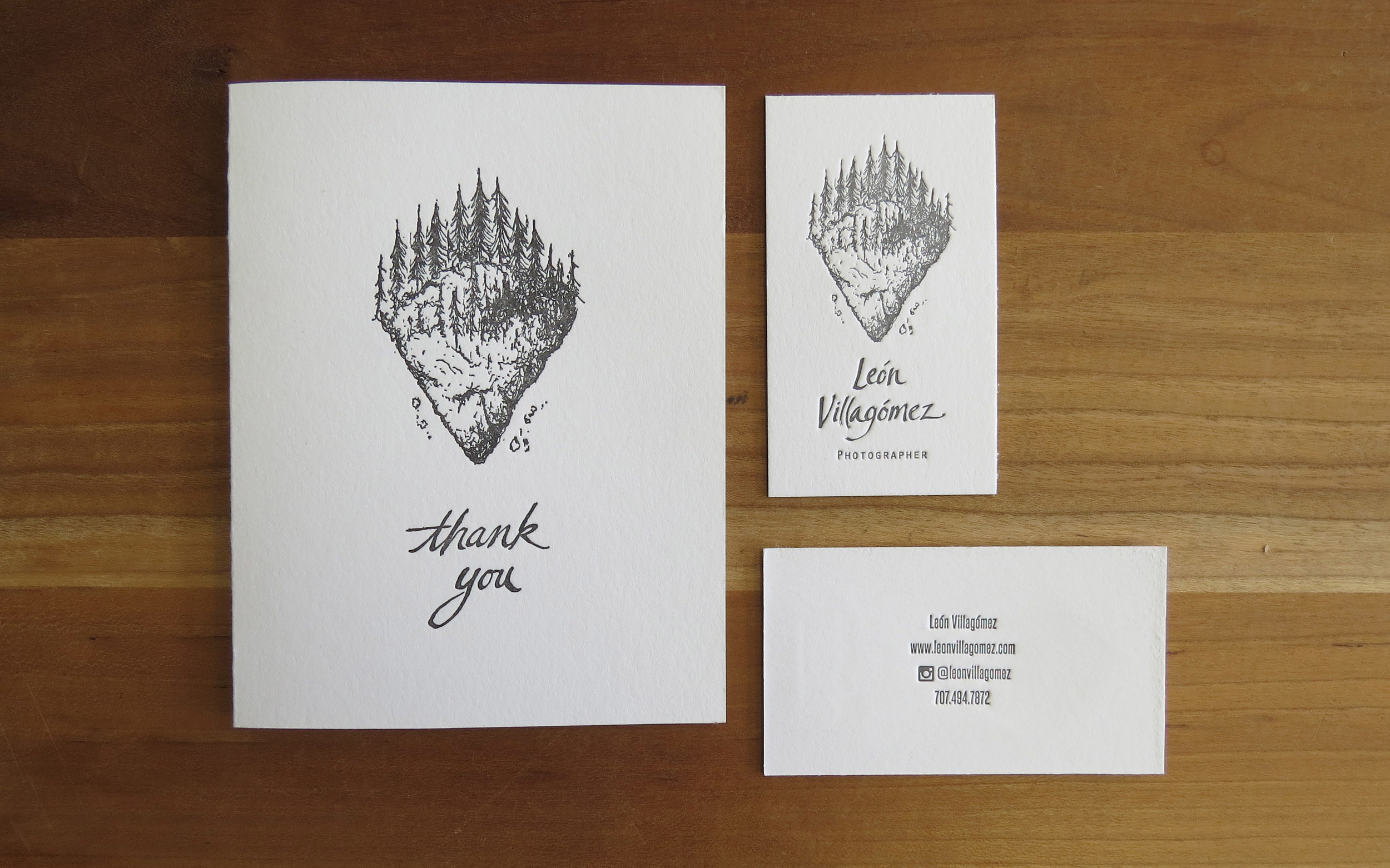 Leon Villagomez, Photographer - A2 thank you cards: one color. Business cards: one color, two-sided.