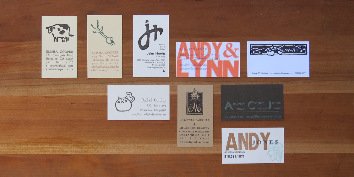Various business cards.