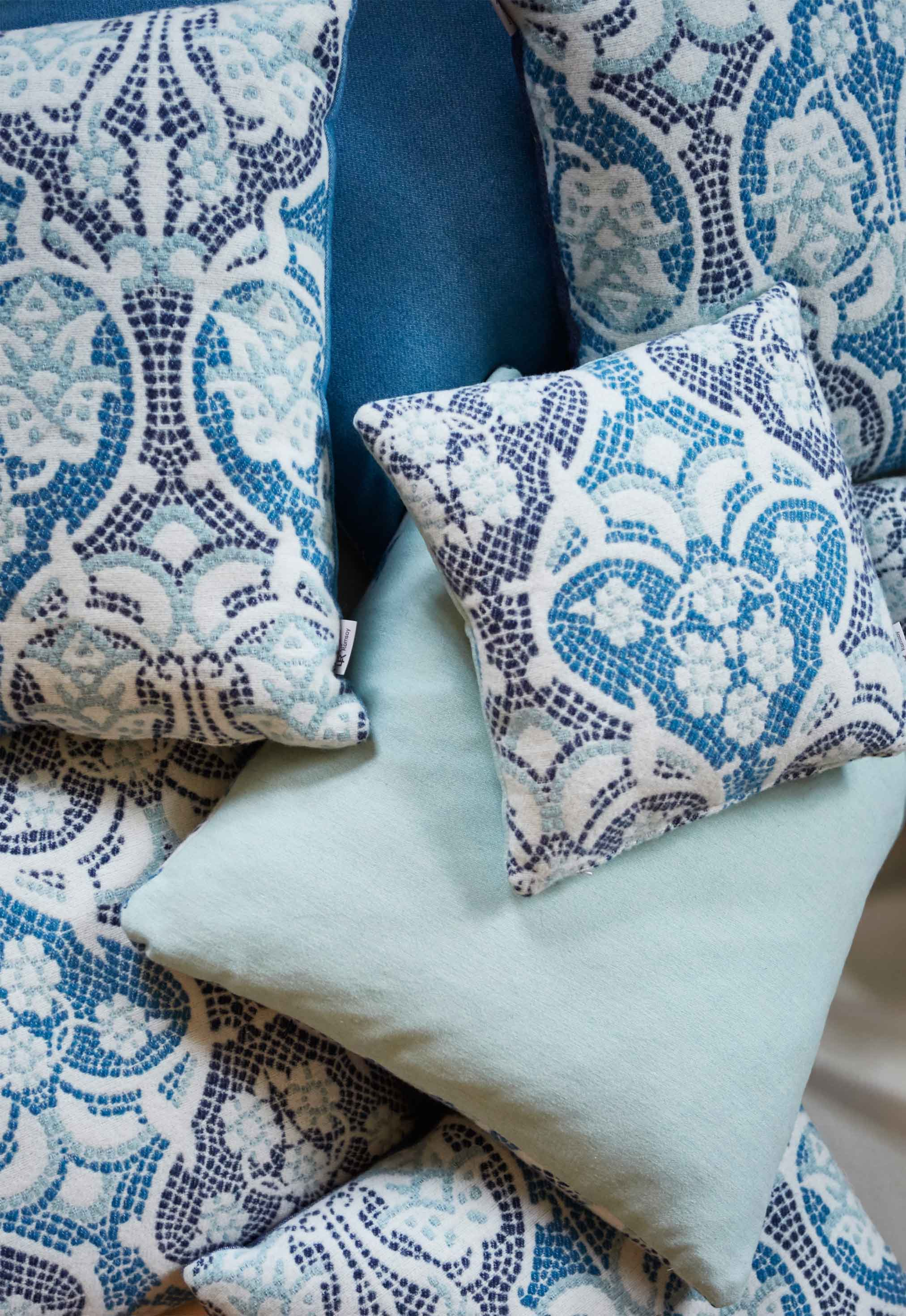 British woven merino fabrics with a choice of cushion pads - these shown are filled with British wool.