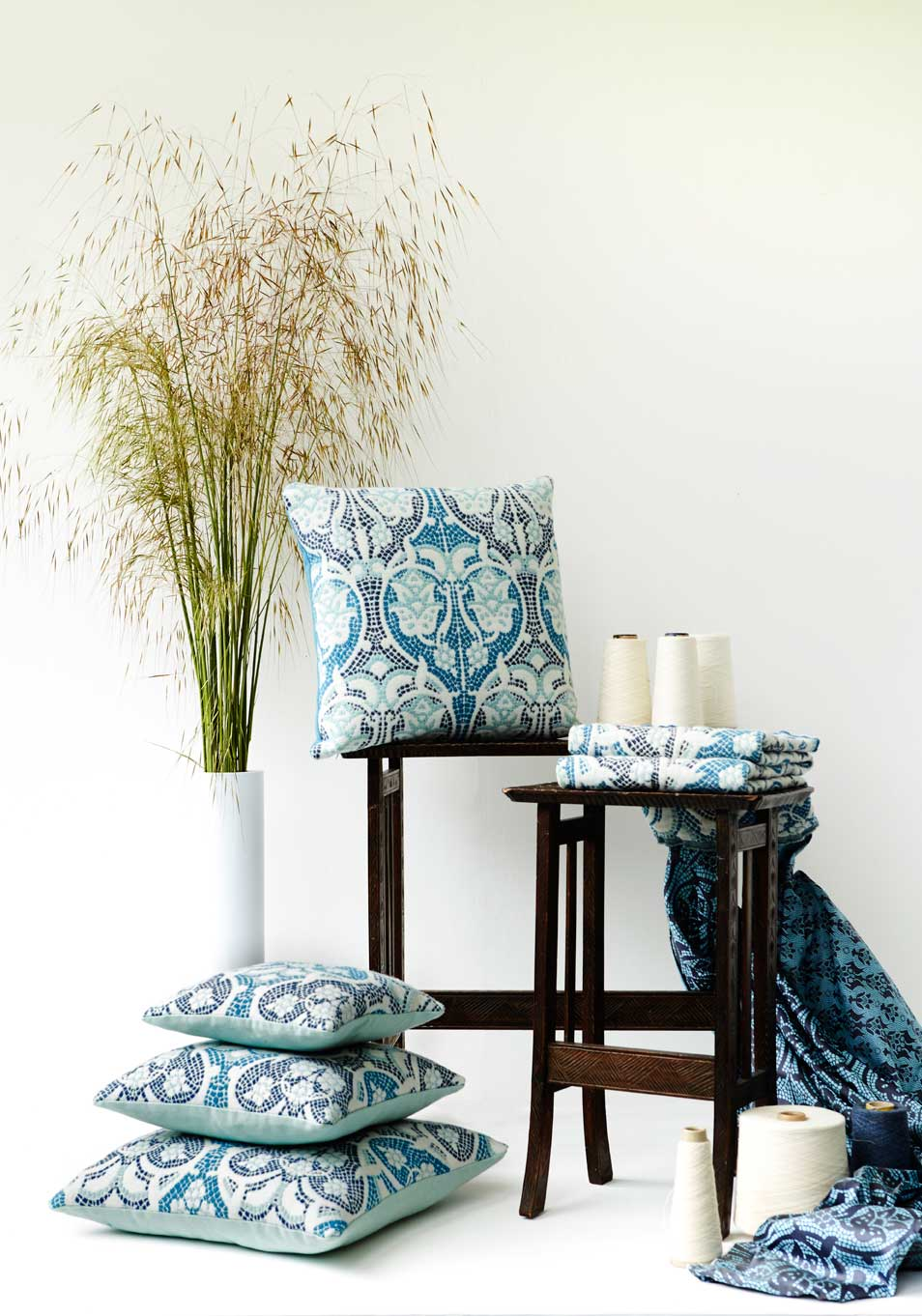 British woven wool cushions and fabric with coordinating British silks.