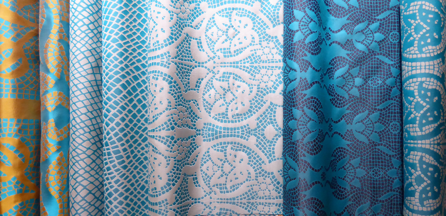 British Woven Silks -Woven in the UK these unusual 100% silk fabrics are available in a range of colours to order - please ask. Other co-ordinating designs, both large and small are available