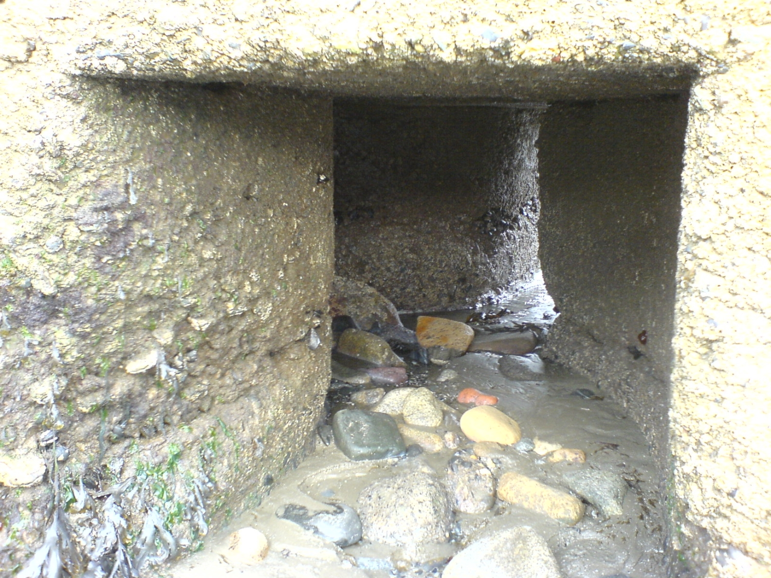 2No. exits from old outfall chamber