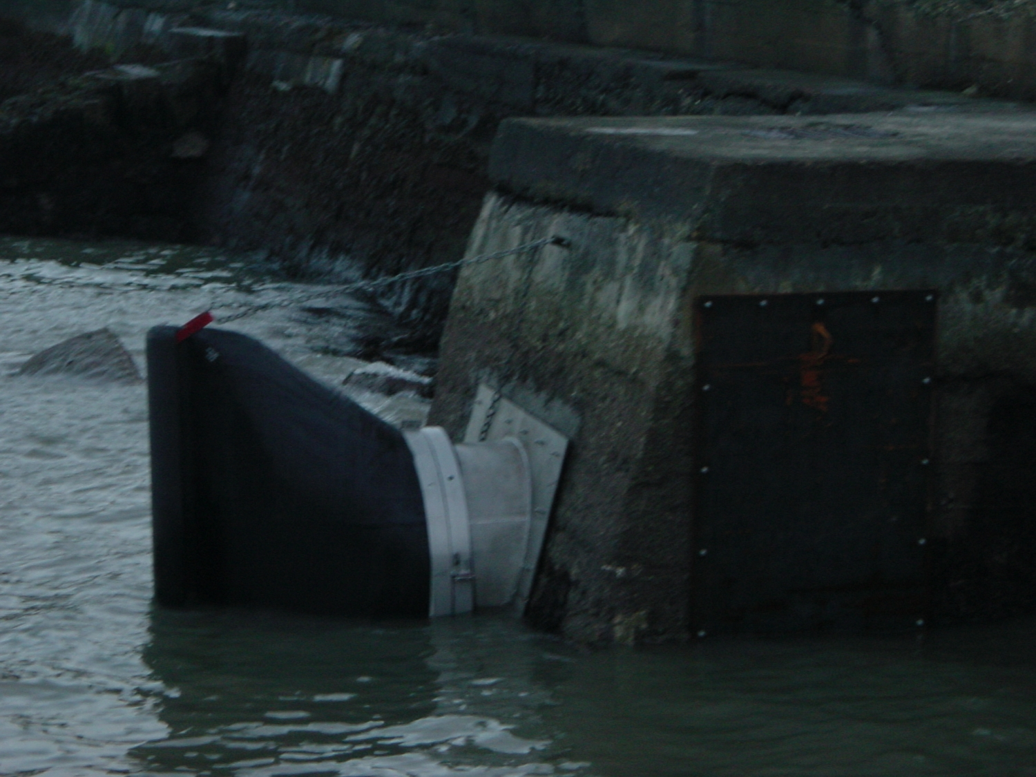 Tideflex check valve being submerged as the tide rises