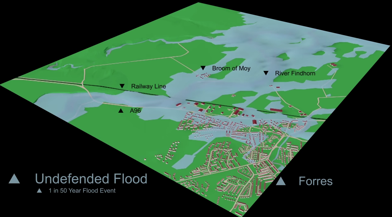 Forres Prior to Flood Defences - 1 in 50 year storm event (2% chance of this storm in any given year)