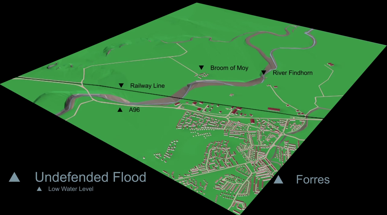 Forres Prior to Flood Defences - low water level
