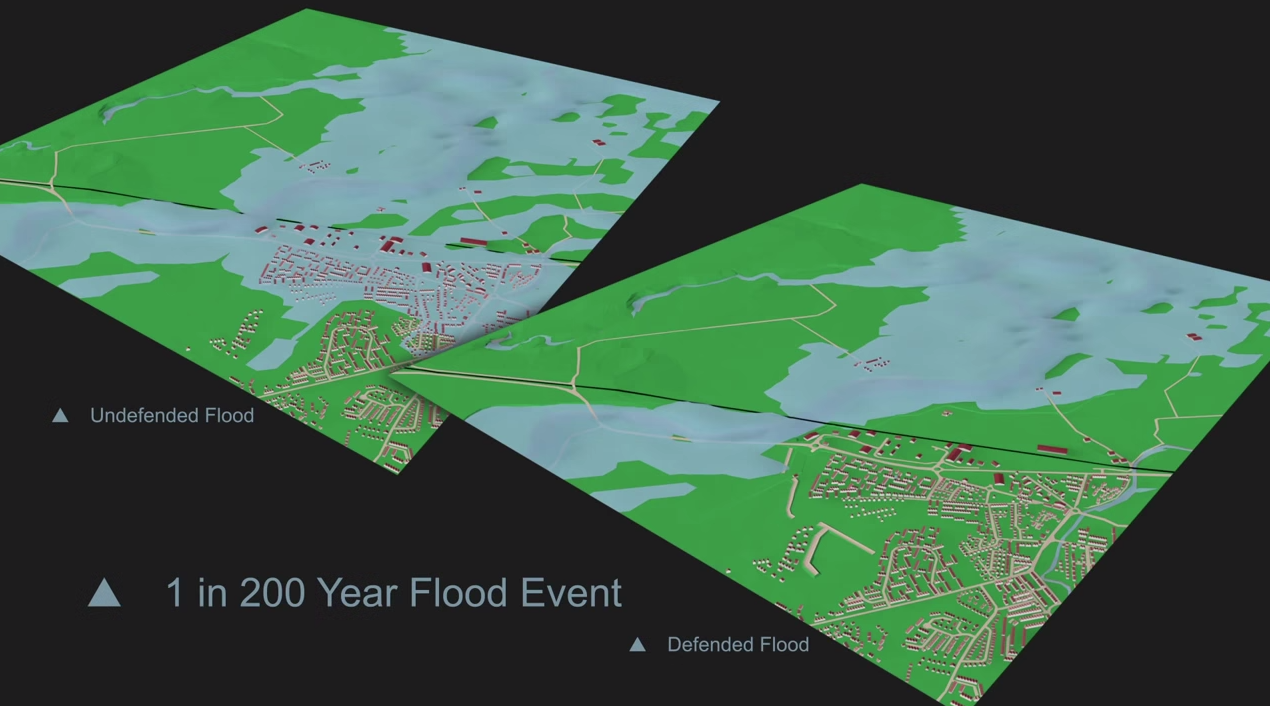 The difference that the flood defence works will make in a 1 in 200 year storm event (0.5% likelihood)