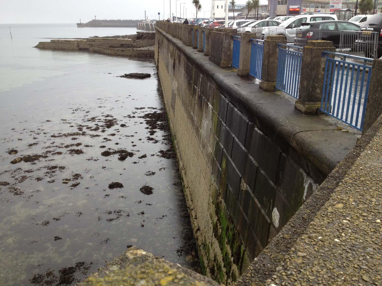 Sea wall at low tide