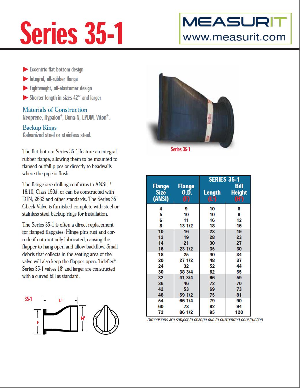 S35-1 valve data sheet
