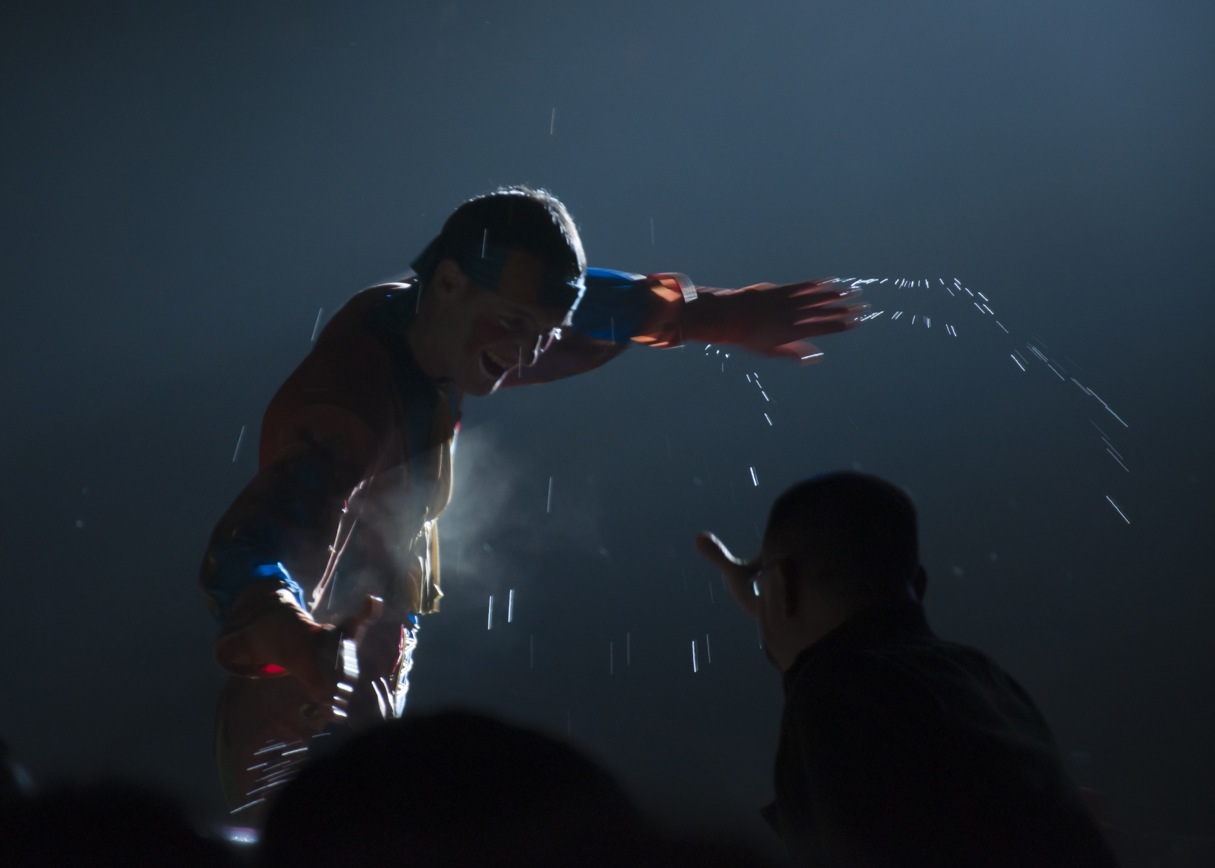 A clown interacting with the audience at Chimelong International Circus, Guangzhou