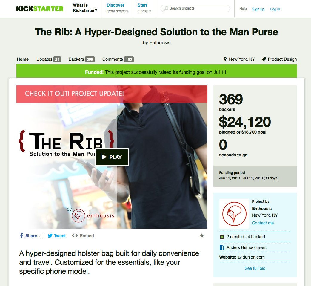 "Enthousises: ""The Rib"", as seen on Kickstarter.com with a link to the successful advert."