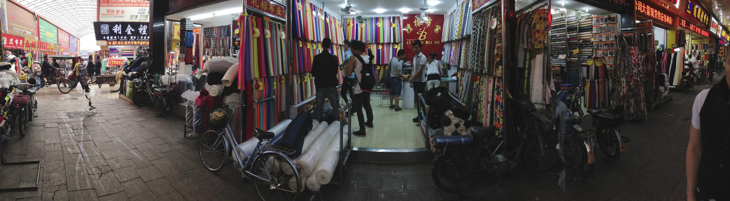 """Inside """"Textile City"""", at Zhong Da Chang Heng Textile Market"""