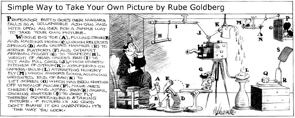 Source:The Official Rube Goldberg Website  http://www.rubegoldberg.com/gallery#