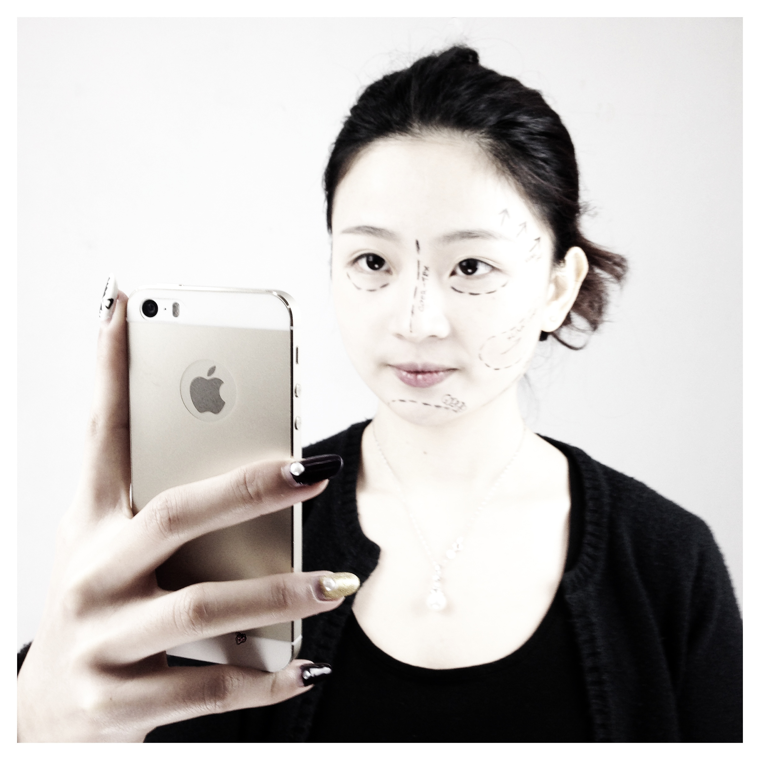 """Selfie"", A student explores the theme of self-image. Guangzhou March 2014"