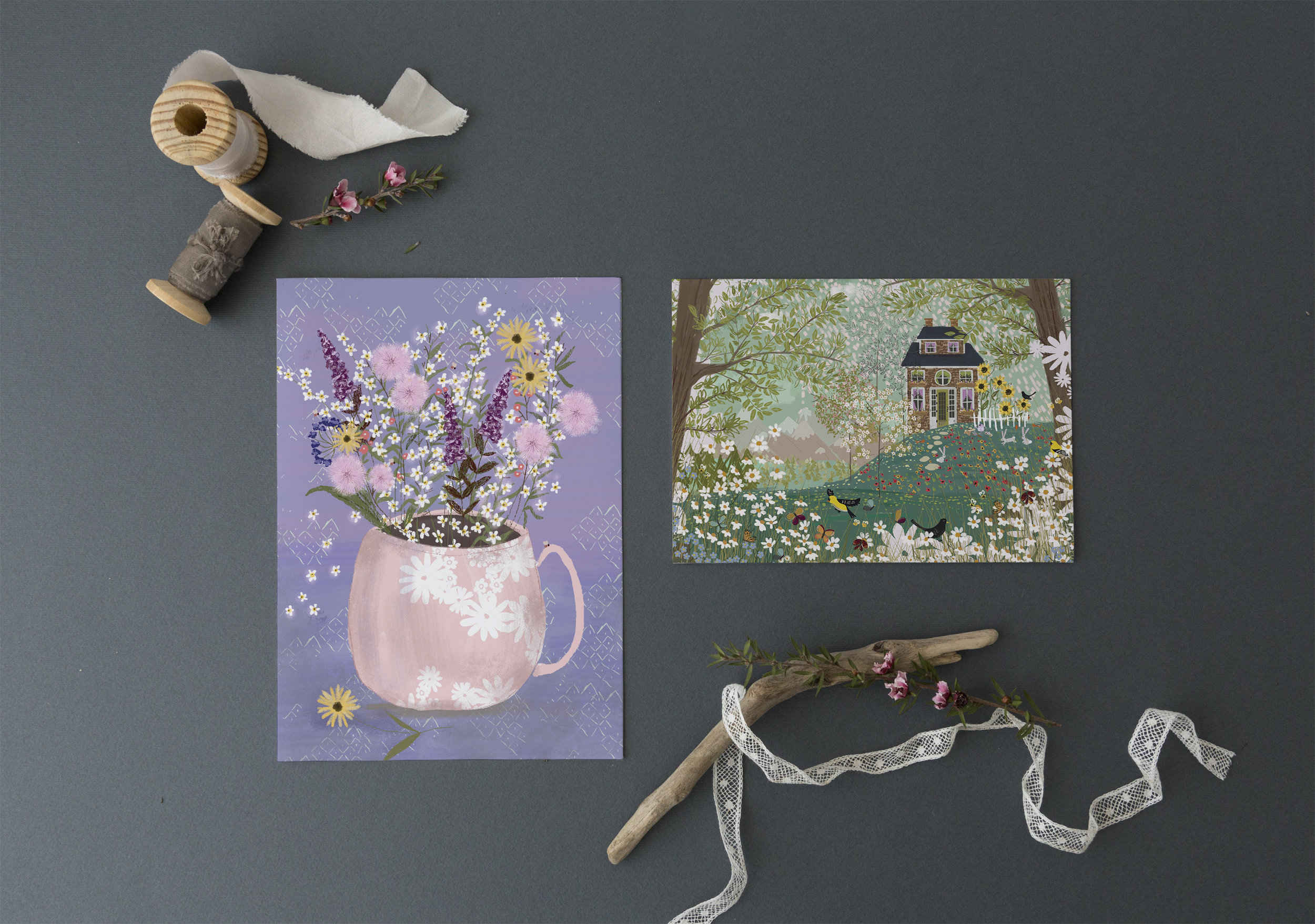 Wildflowers Gathered and Garden Dream by Joy Laforme for Design House Greetings