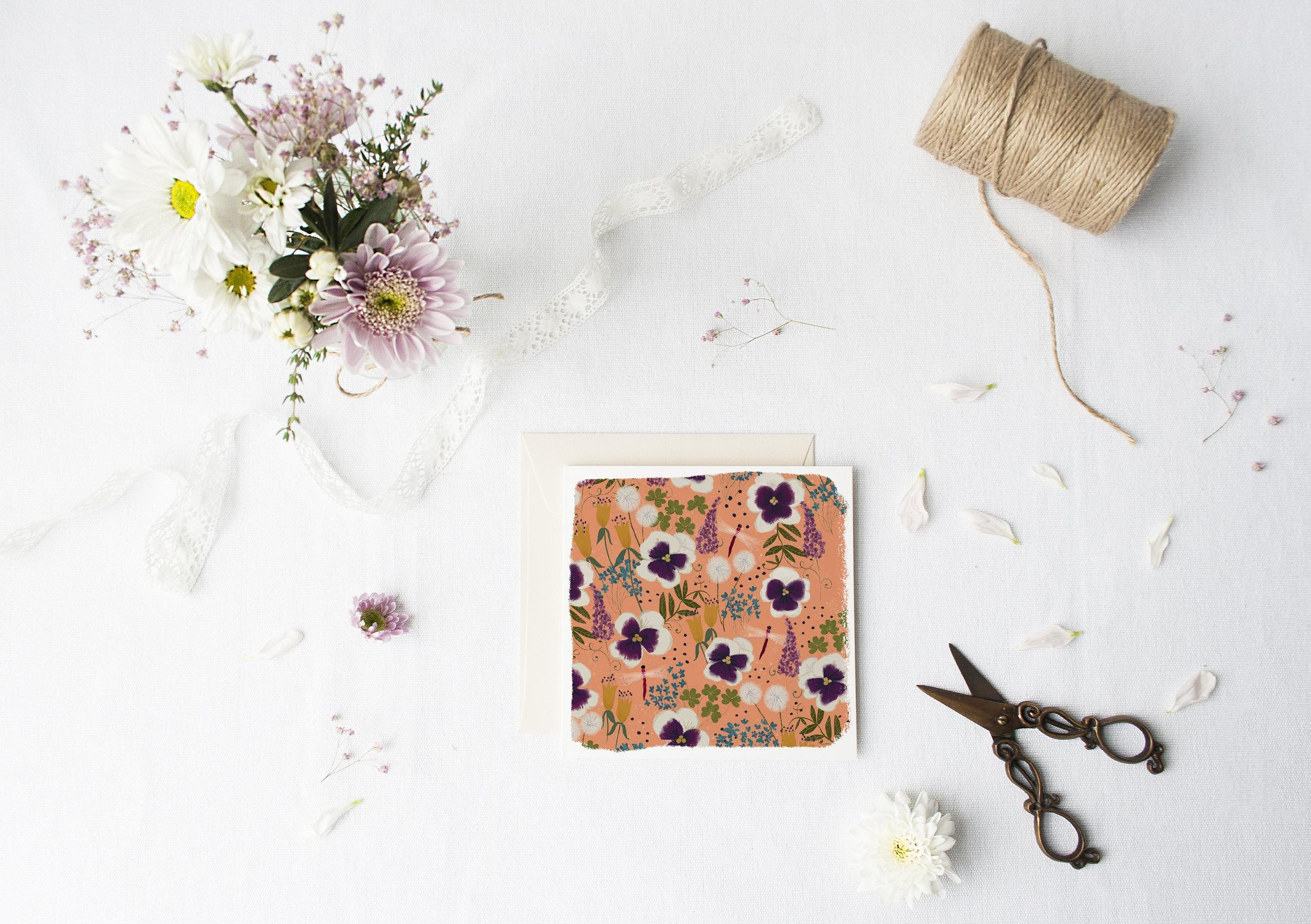 Violas on Orange by Joy Laforme for Woodmansterne