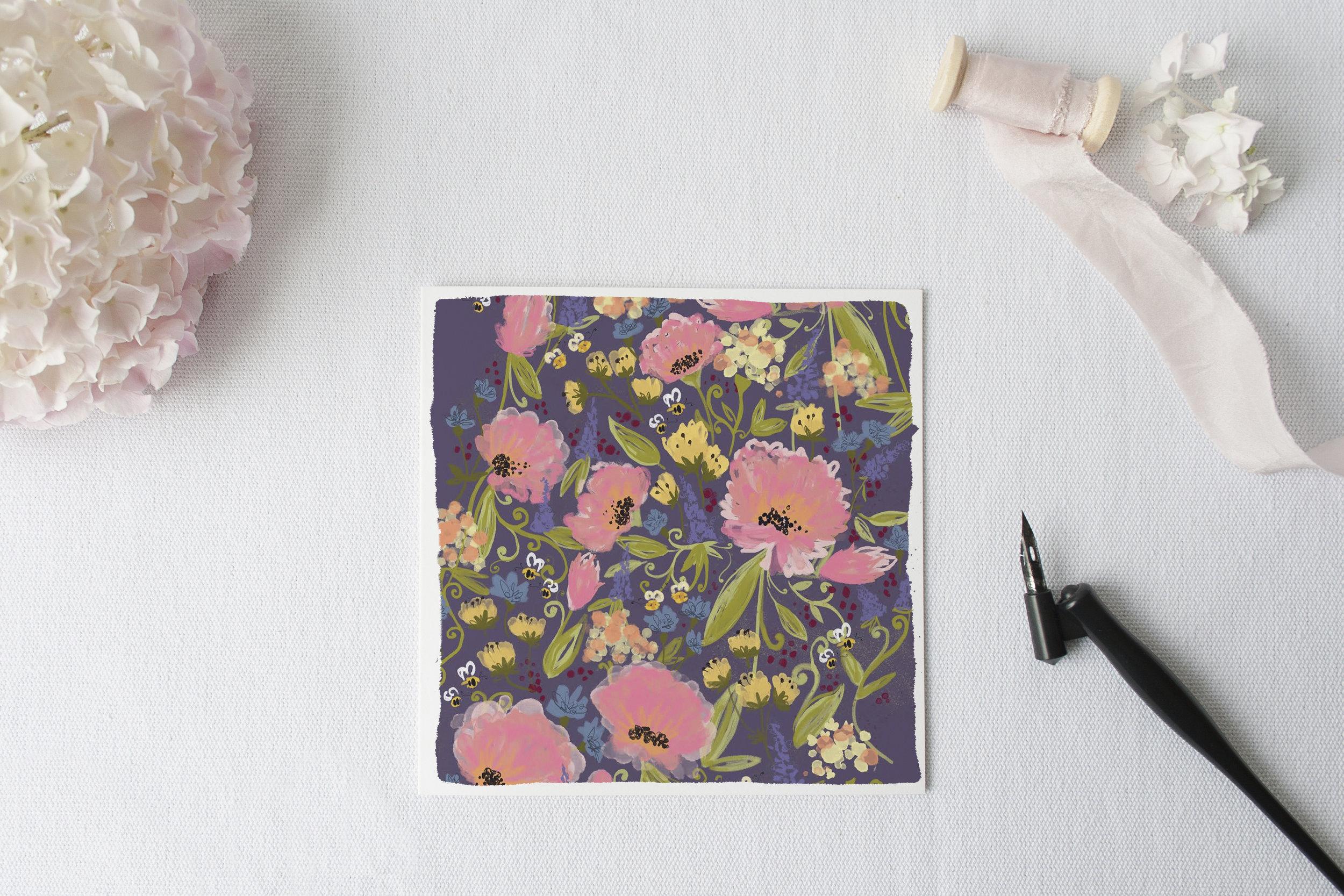 Honeybee Garden on Lavender by Joy Laforme for Woodmansterne