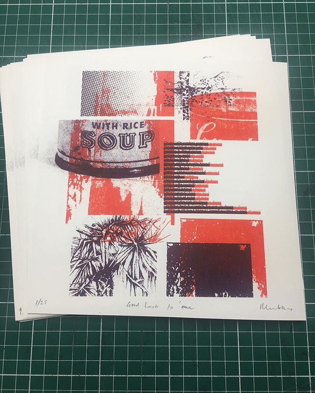 Tonight's hard graft. Second print edition for the 2020 Hotbed Press Exchange. (This is a two colour screen print experimenting with a drawing of mine, Monoprint textures and a found image of a Warhol's soup can that I added a halftone to). I've got some spare so message me if you want one. 🍷 Happy Wednesday. Good luck to me! #goodlucktome #2020printexchange  #screenprinting #artist