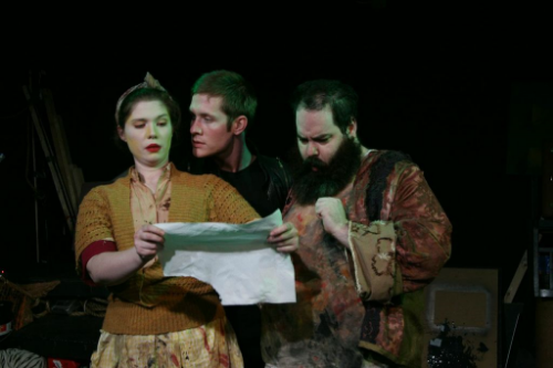 Jessica Saxvik* as Mrs. Ubu, Drew Brown as Captain Shithead, and Gregory Peters* as King Ubu. Photo by Jasmine Dunn.