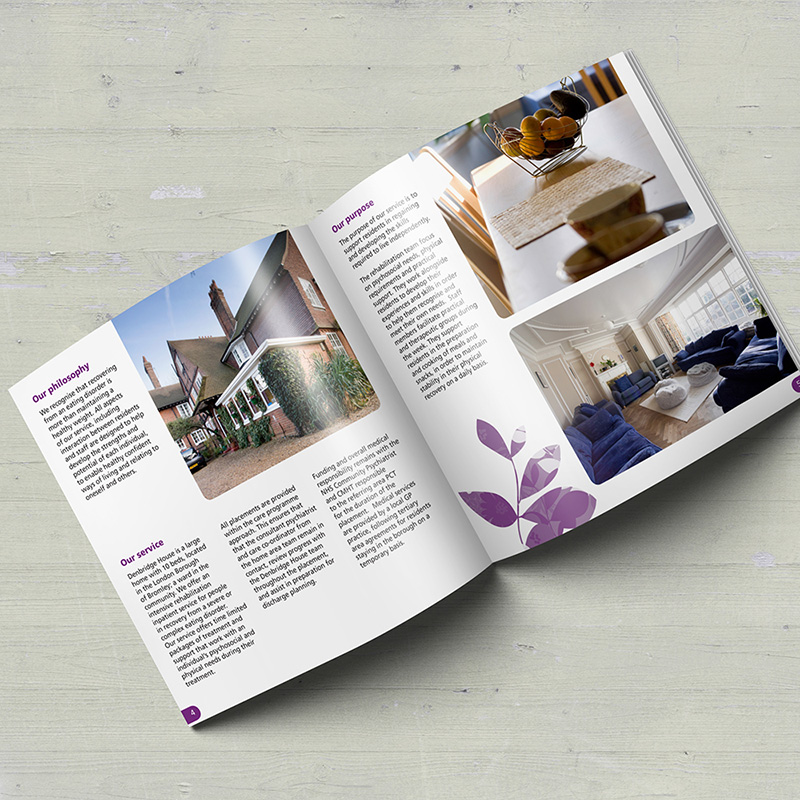 A soft, approachable brochure design for an NHS residential service.