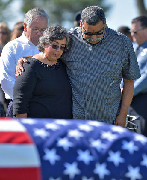 Rancho Palos Verdes, CA --Daily Breeze Staff Photo: Robert Casillas / LANG --- Funeral service for Hawthorne Police Sgt. Leonard Luna at Green Hills Memorial Park in Rancho Palos Verdes.