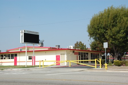 """Hawthorne High School,  4859 West El Segundo Boulevard   This small hamburger stand on Hawthorne Boulevard was a regular hang-out for the Wilson family. It was amid the ketchup-stained picnic tables that the boys saw the T-bird they would lust over in """" Fun, Fun, Fun ."""" It is unclear though where they first heard the Chuck Berry riff they would marry it to."""