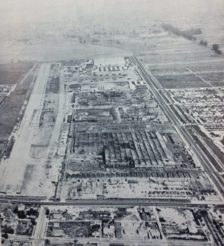 """Northop's plant, right, still has wartime aerial camouflage in this 1946 aerial view looking east, with runway at left. (Photo from """"Northrop: An Aeronautical History"""")"""