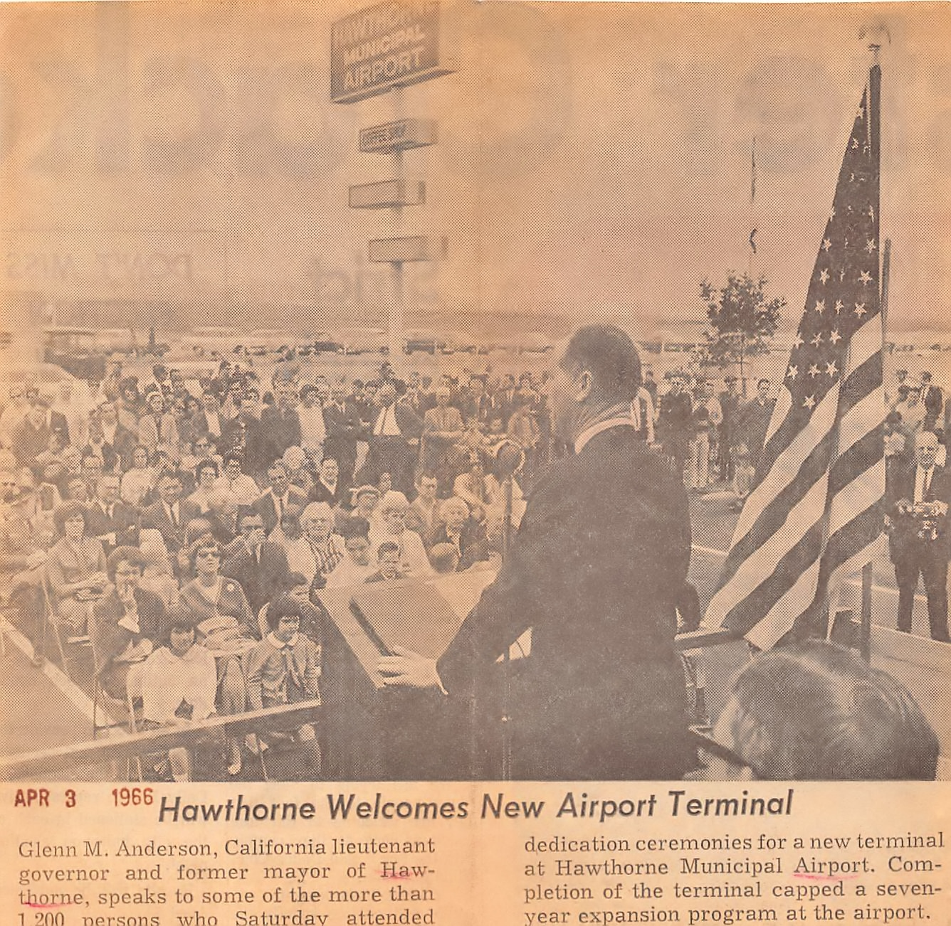 Glenn Anderson speaks at the dedication for the new terminal at Hawthorne Muncipal Airport on April 2, 1966. Daily Breeze, April 3, 1966.