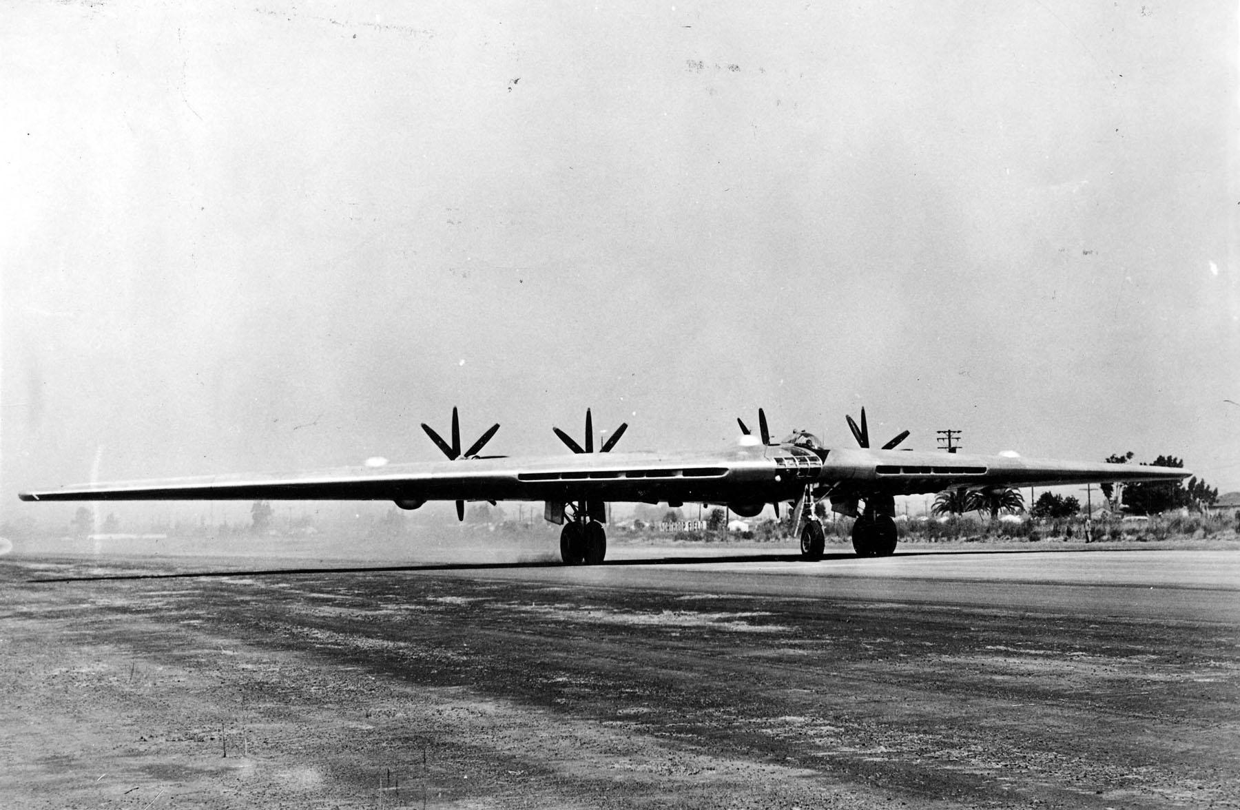 Northrop XB-35 taking off at Northrop Field, Hawthorne, California. (U.S. Air Force)