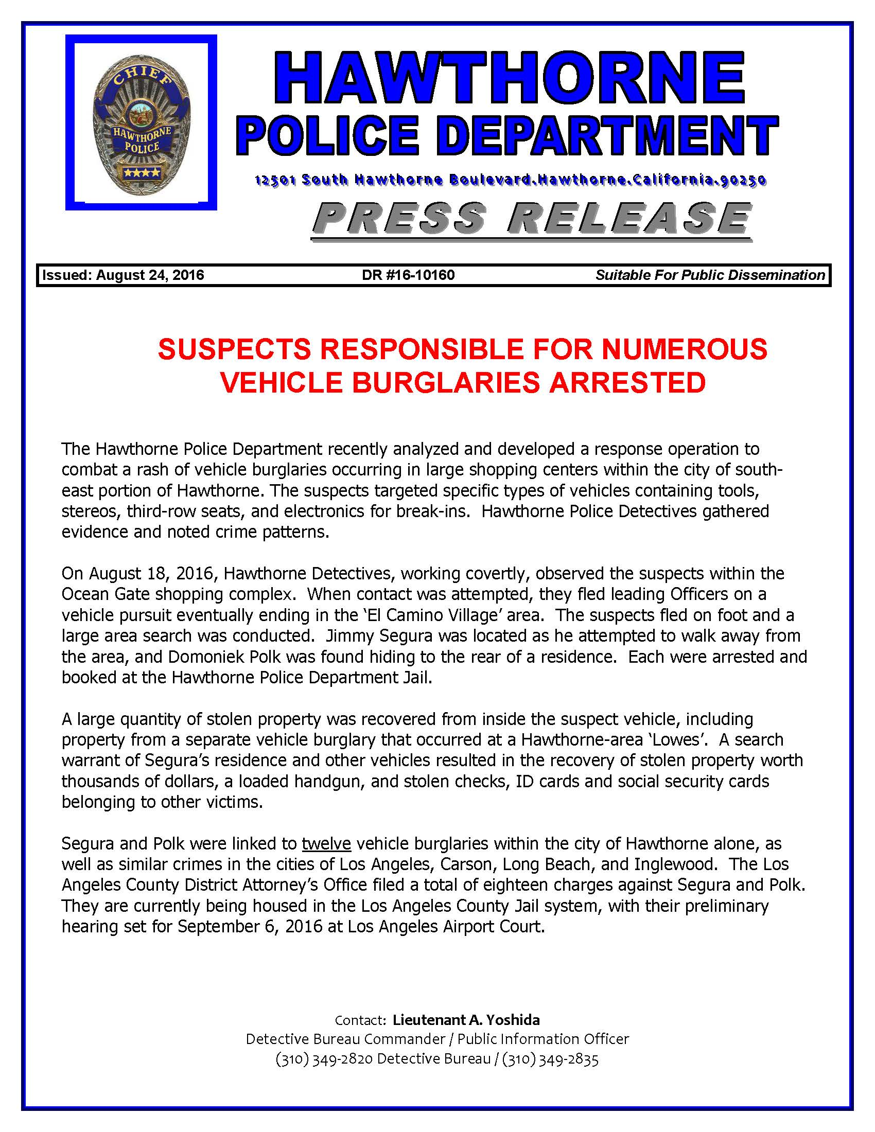 Suspects Responsible For Numerous Vehicle Burglaries Arrested