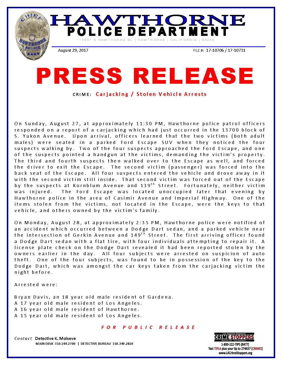 Carjacking stolen vehicle - arrests page 1