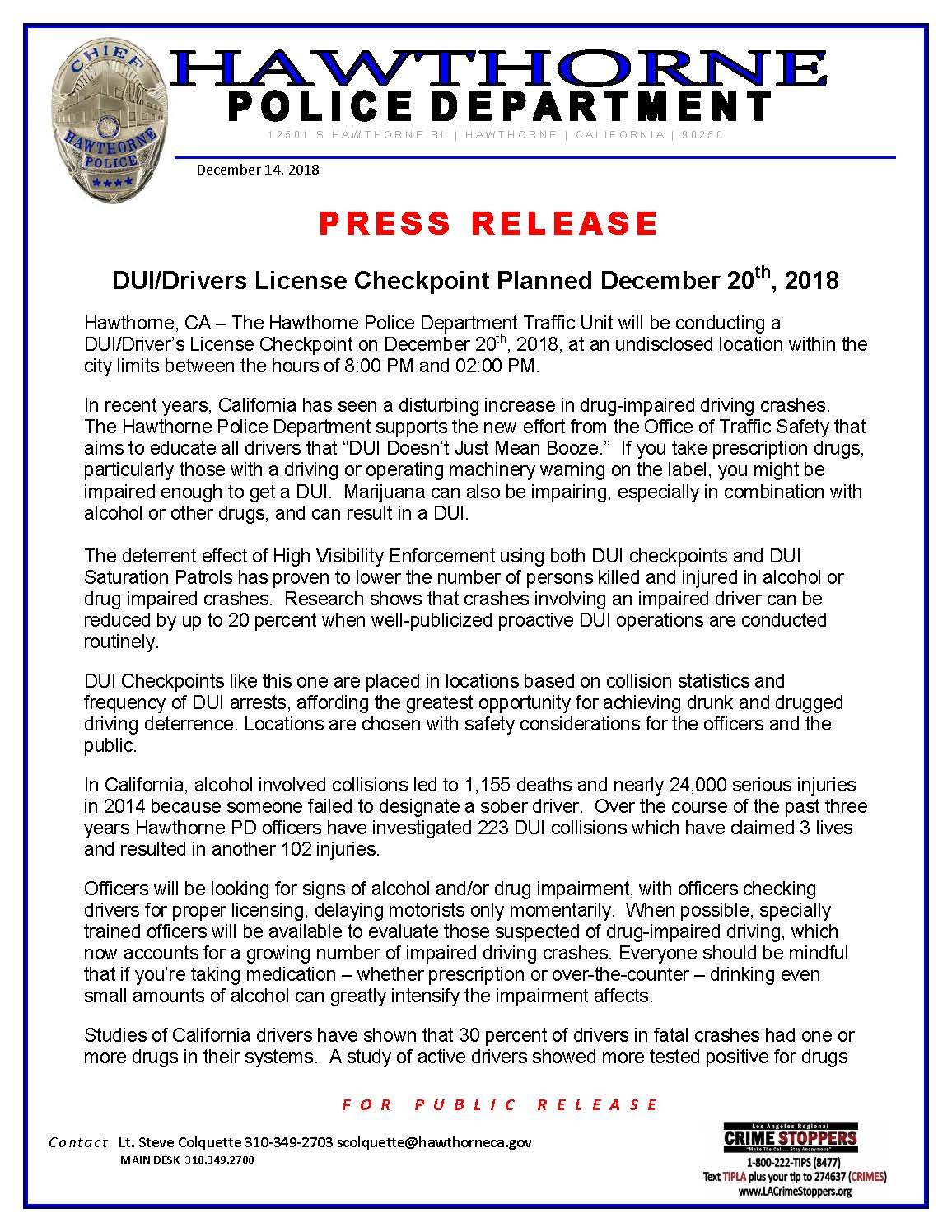 DUI/Drivers License Checkpoint Planned December 20, 2018 - pg1