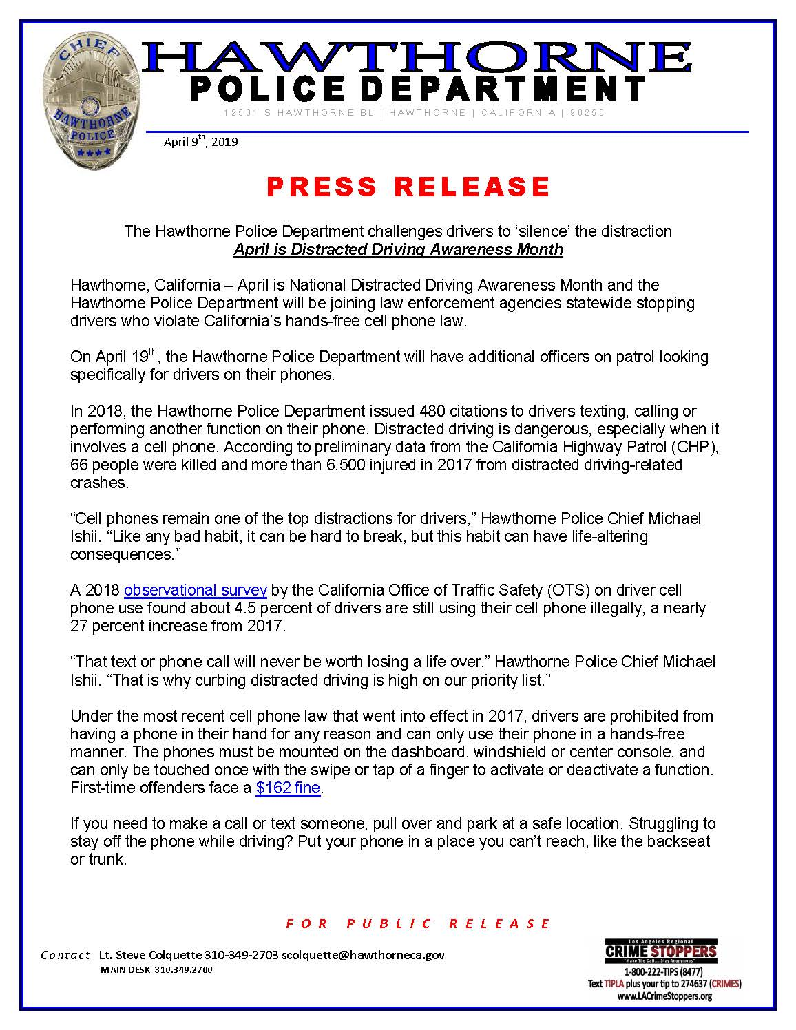 April is Distracted Driving Awareness Month - page1