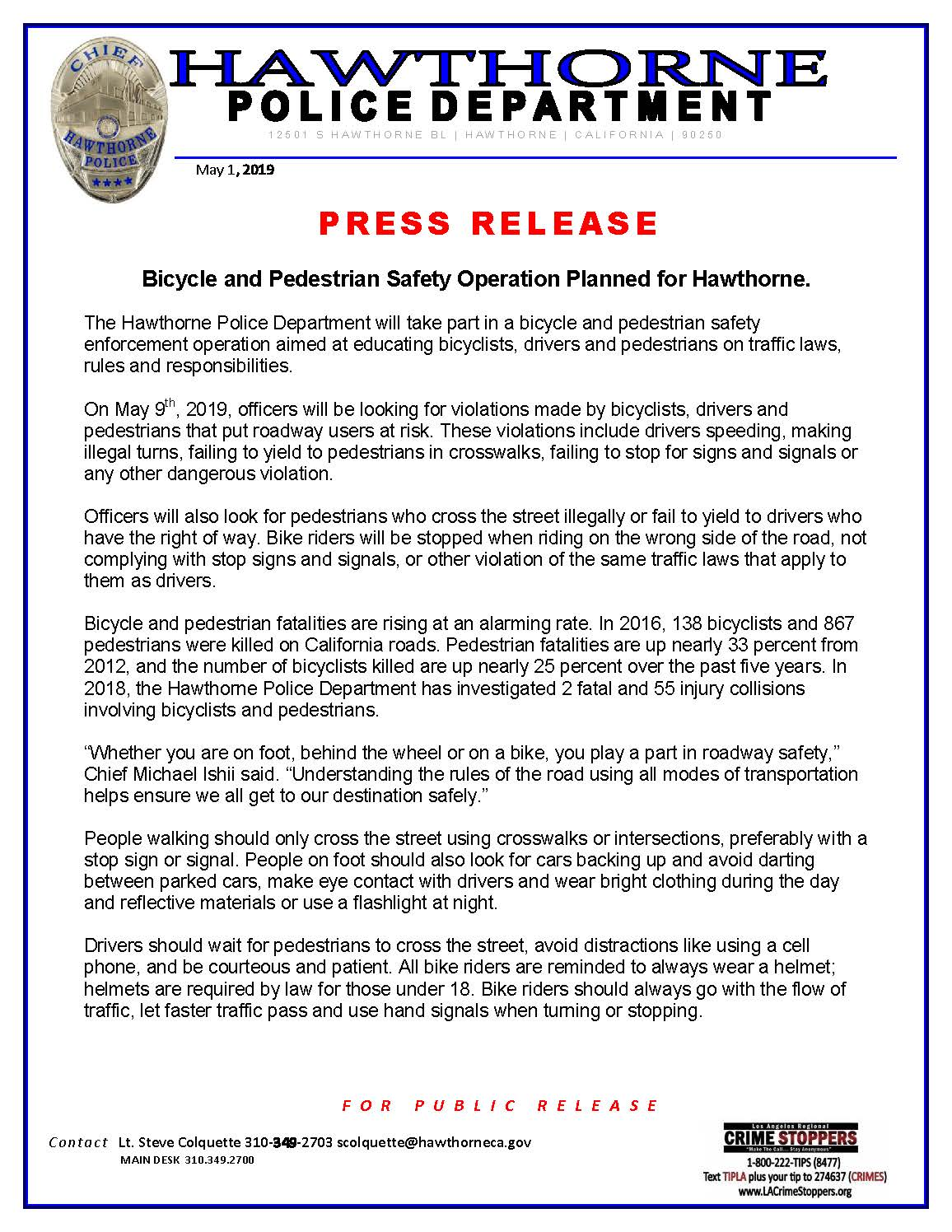 Bicycle and Pedestrian Safety Operation Planned for Hawthorne - page1