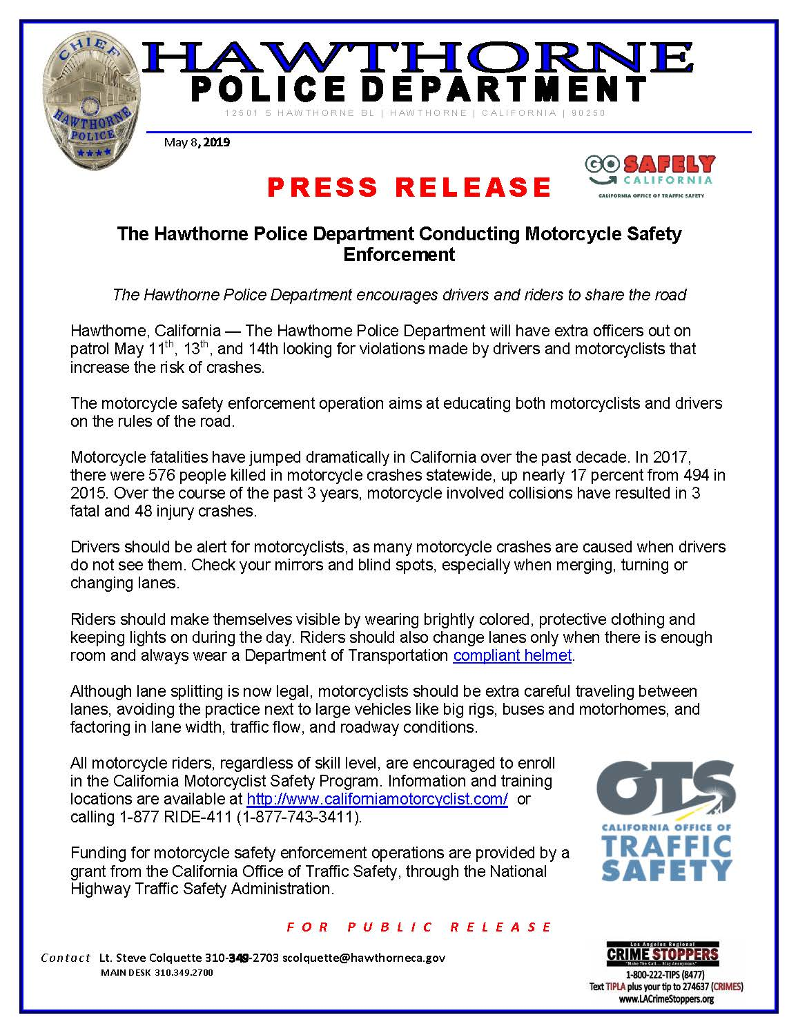 The Hawthorne Police Department Conducting Motorcycle Safety Enforcement