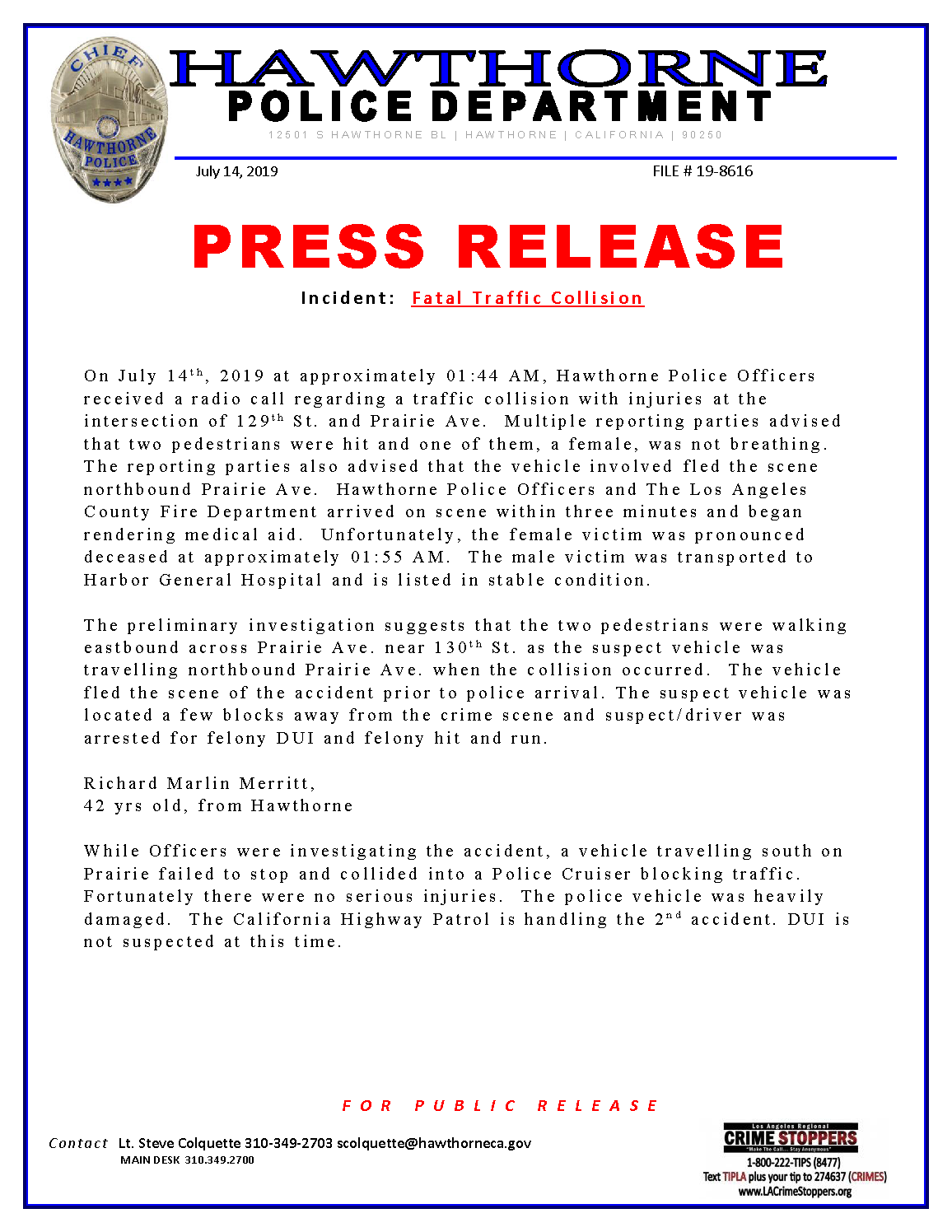 Press Releases — Hawthorne police