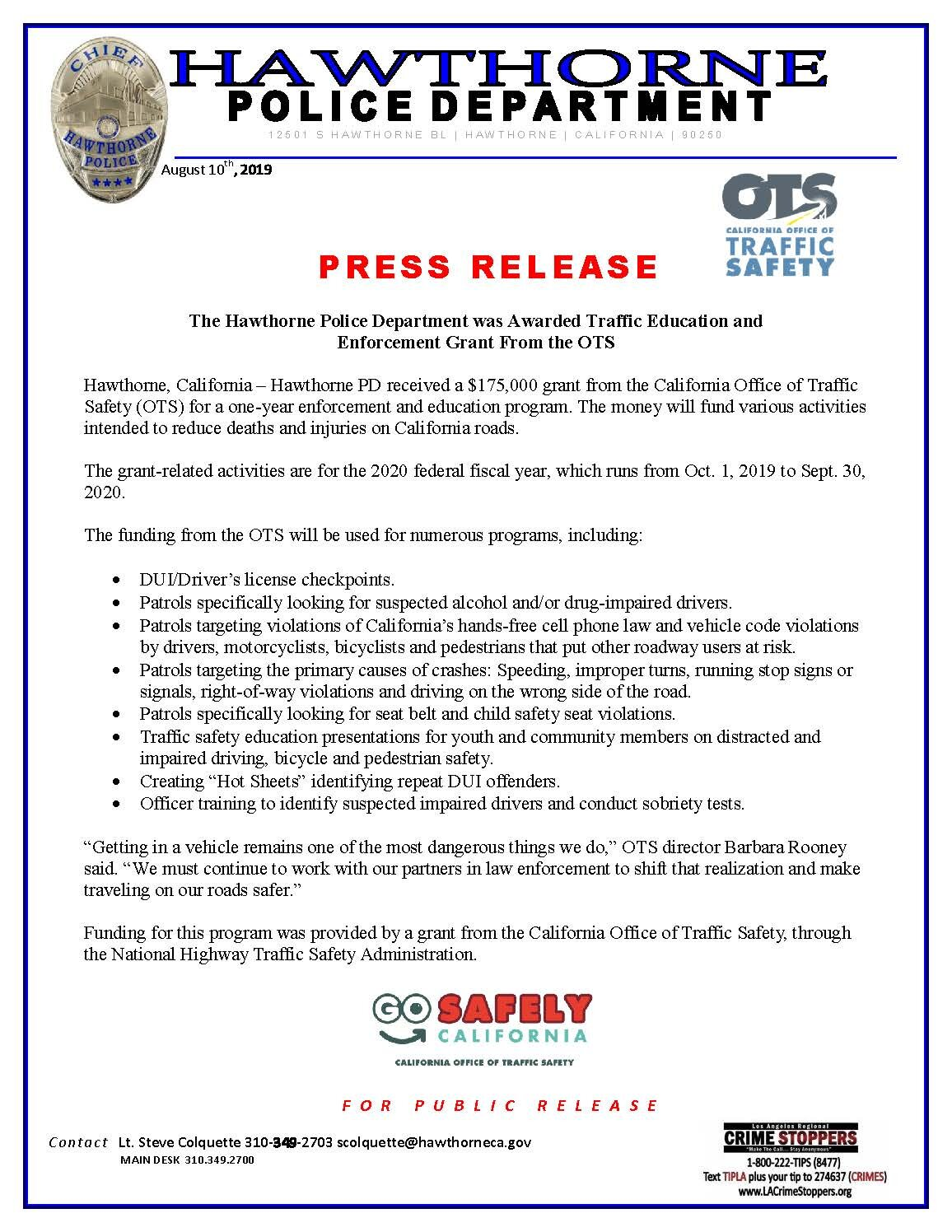Hawthorne Police Department Awarded Traffic Education and Enforcement Grant from the OTS