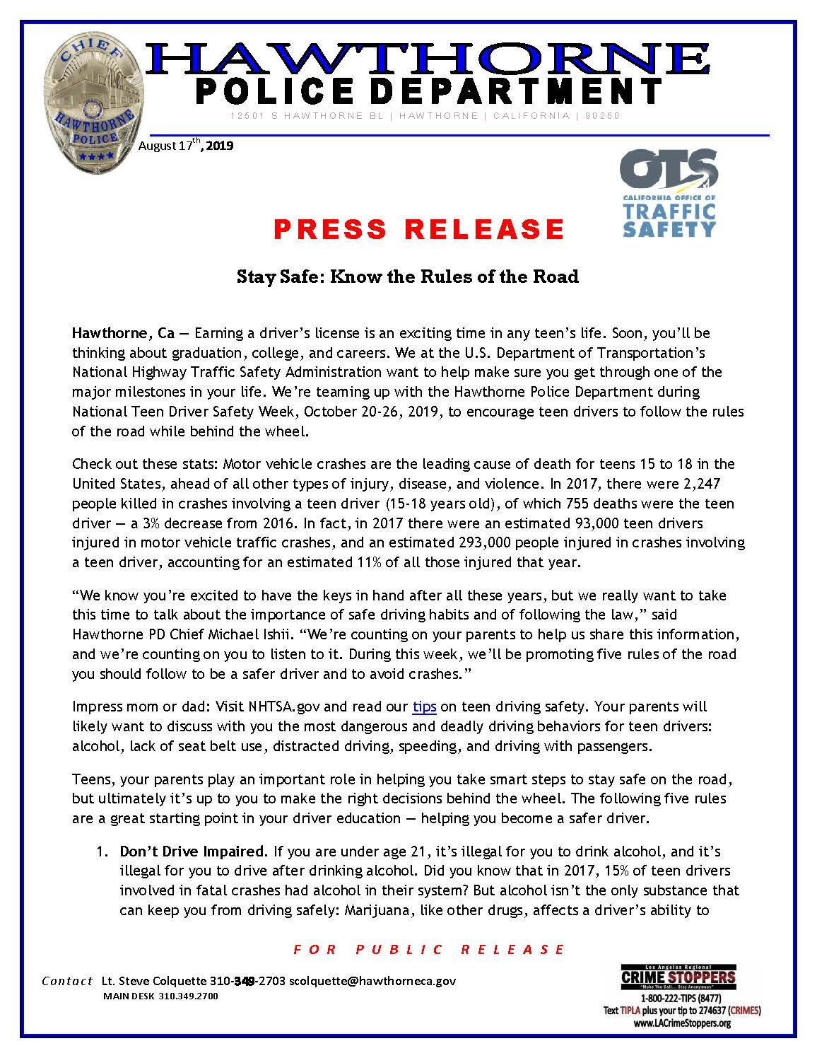 Teen Driving Press Release - pg 1