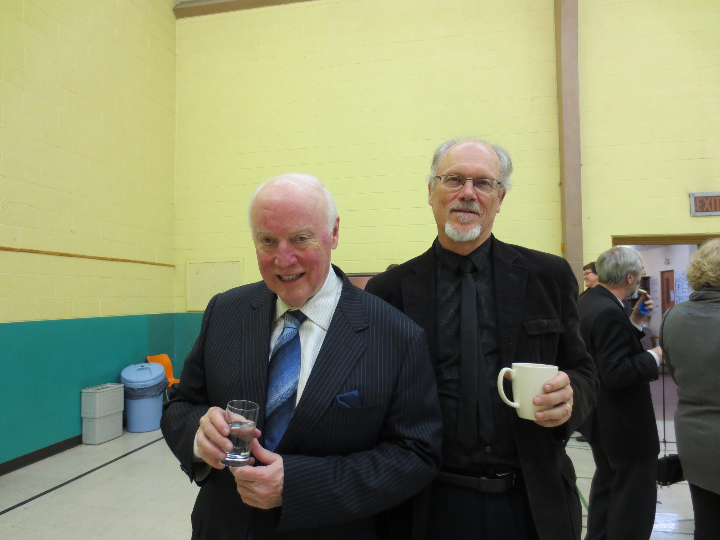 John Grew, Music Professor Emeritus, McGill University, and St. Peter's Music Director, Bradley Moggach.