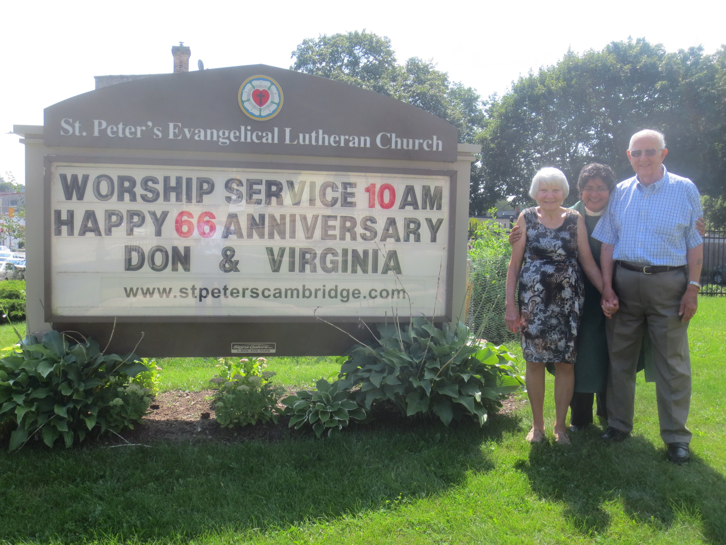 Happy 66th wedding anniversary to Virginia and Don Davidson. Pictured here with Pastor Janaki.