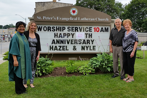 Happy 60th wedding anniversary to Hazel and Nyle Schmidt. Pictured here with daughter Lynda and Pastor Janaki.