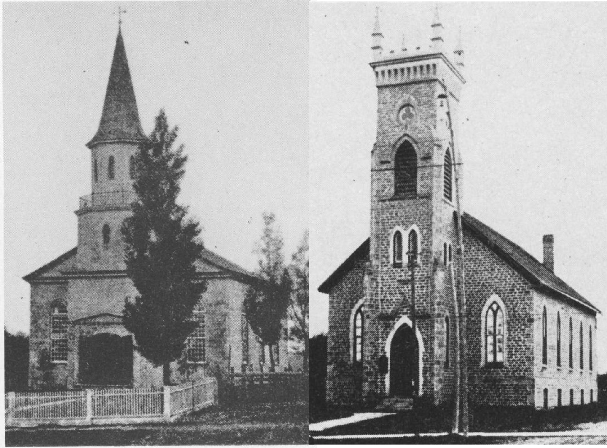 St. Peter's. Left: Old Frame Church: 1842-1887, Right: Original Stone Church: 1997-1958