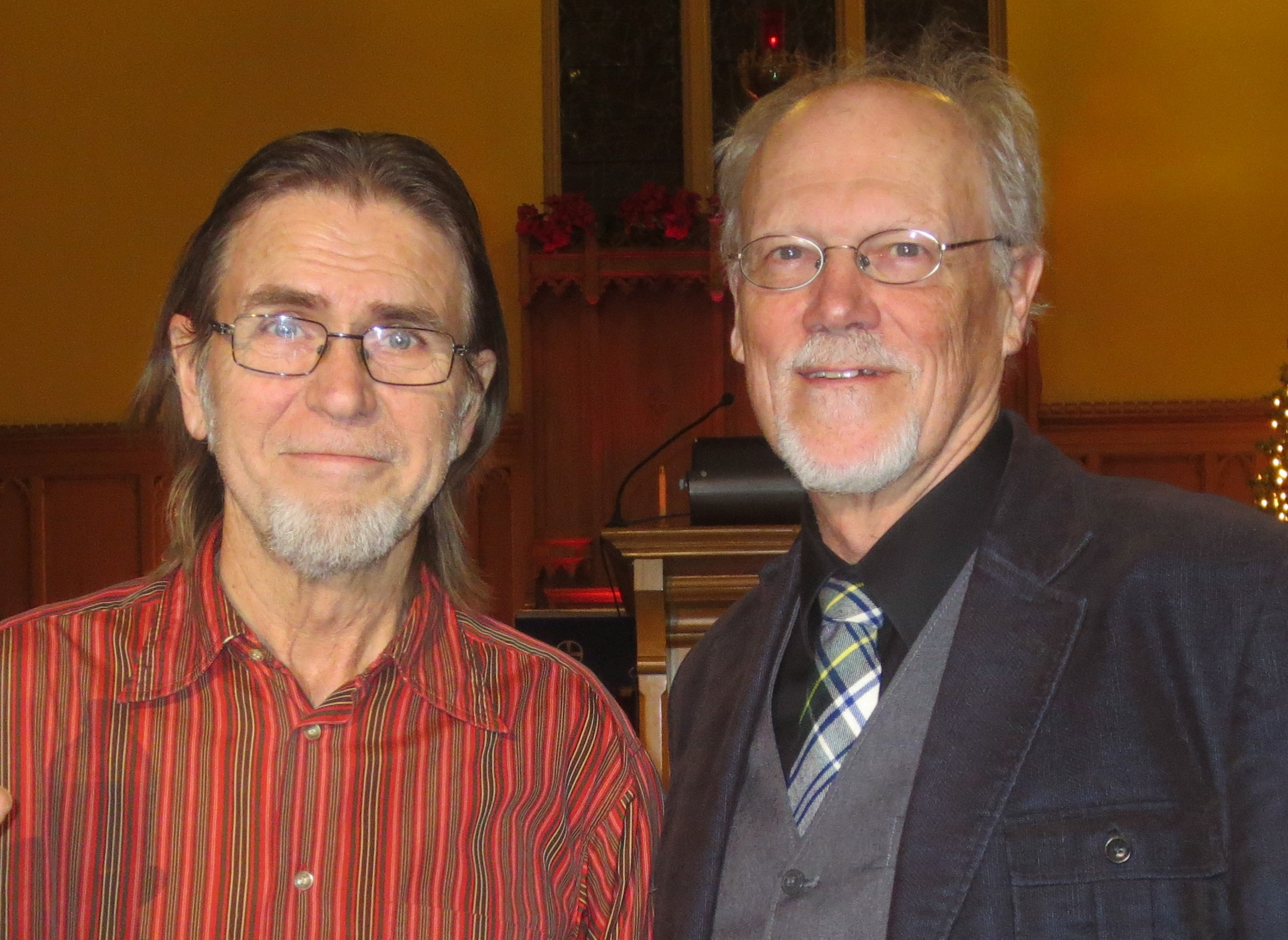 Our Annual Dramatic Reading of Charles Dickens' 'A Christmas Carol' took place Friday, December 7, 2018. Providing music for the evening were, L to R: Glen Soulis, and Bradley Moggach, Music Director at St. Peter's.