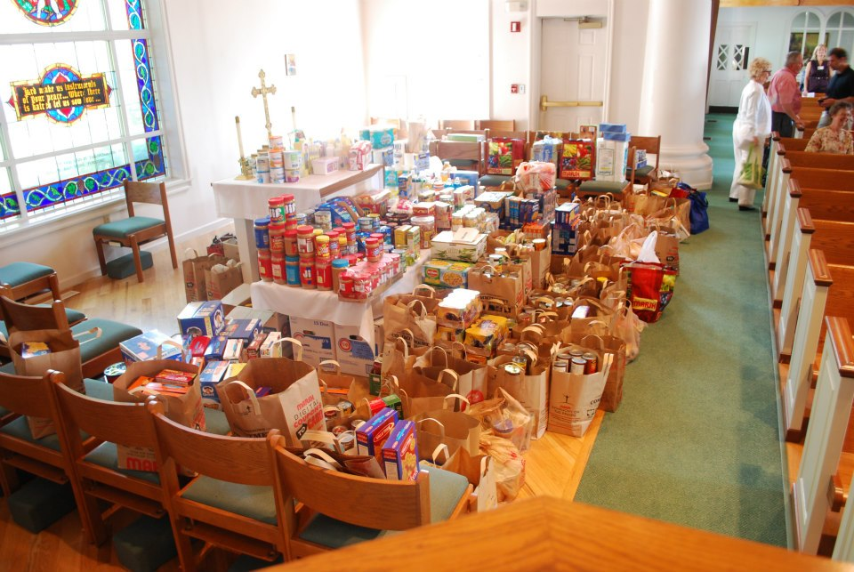 Collected food from the St. Francis Food Drive