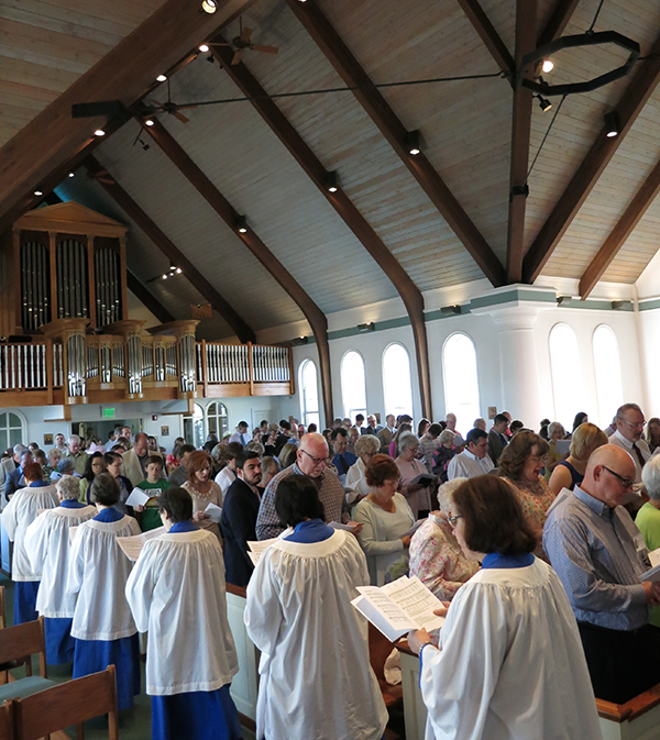 The choir processing in at the beginning of the service.